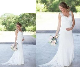 Wholesale Ball Gowns For Pregnant Women - .New Elegant Lace Maternity Wedding Dresses Cheap Romantic V Neck Empire Waist Wedding Dresses For Pregnant Women Plus Size Bridal Gowns
