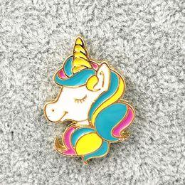 Wholesale Metal Horse Head - Wholesale- X191 New Cartoon Beautiful Rainbow Unicorn Metal Brooch Pins Button Horse Head Pins Fashion Jewelry Wholesale