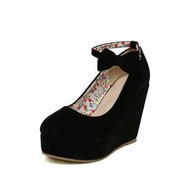 Wholesale Ladies Suede Platform Wedge Shoes - Women Fashion Buckle Ladies Shoes Wedges High Heels Platform Black Casual Bowtie Pumps Tenis Feminino Sapato Feminino