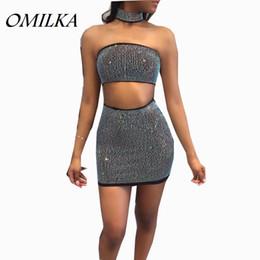 Wholesale Hot Sexy Club - OMILKA 2017 Hot Summer Women Strapless Diamonds 2 Piece Dress Set Sexy Black White Zipper Crop Top Club Party Mini Bodycon Dress