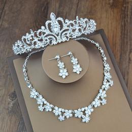 Wholesale Silver Drop Earrings Balls - 2017 Hot Women Fashion Bridal Rhinestone Crystal Drop Necklace Earring Plated Jewelry Set Wedding Earrings Pendant