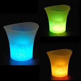 Wholesale Led Nightclub Lights - 5L Waterproof Plastic LED Ice Bucket Color Changing Bars Nightclubs LED LIGHT Beer Bucket Bars Night Party free shipping