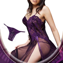 Wholesale Wholesale Plus Size Lingerie Women - Wholesale- Plus Size Women Sexy Embroidery Underwear Sleepwear Lure Lingerie With G-String Thong