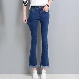 Wholesale Fancy Tassels - Wholesale- High waist black jeans female spring blue fancy tassel thin jeans femme skinny denim bell bottom ankle length pants WICCON