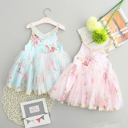 Wholesale Baby Frocks Style - 2017 Children summer frocks girl broken flower dress sleeveless kids lace tutu dress baby girl princess party dress