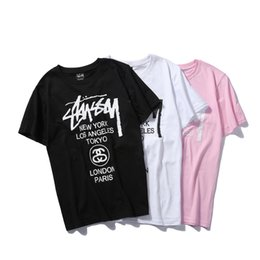 Wholesale Oversized Letters - STU T shirt NEW YORK LOS ANGELES TOKYO Brand PINK New Printed Short Sleeve T-shirts Men Women Hip Hop Clothes Oversized TOPS Tees