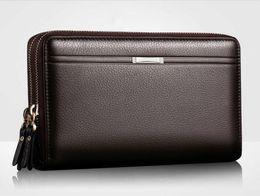 Homens de negócios Carteiras Longo PU de Couro de Telefone Celular Embreagem Bolsa Handy Bag Preto Top Zipper Grande Carteira de