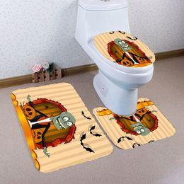 Wholesale Cheap Santa Christmas Decorations - 2 Designs Cheap 2017 Merry Christmas Halloween Decoration Santa Toilet Seat Cover Rug Plant Zombies Bathroom Set Best Xmas Decorations