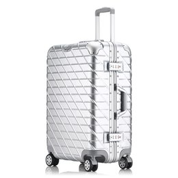 Wholesale Trolley Bag Case - 24 inch suitcase Aluminum frame&drawbars&PC TSA Scratch resistant travel trolley case rolling luggage bags suitcase with wheels