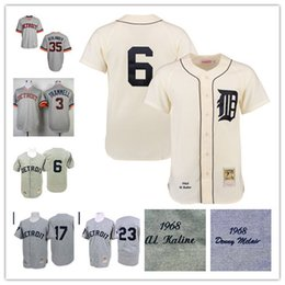 Wholesale Alan Trammell Jersey - Detroit Tigers #3 Alan Trammell 6 Al Kaline 17 DENNY MCCLAIN 23 WILLIE HORTON 35 Justin Verl 1968 Throwback Jersey Stitched Free Shipping