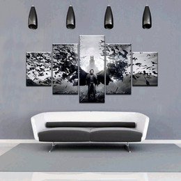 Wholesale Room Painting Games - 5pcs set Unframed The Elder Scrolls V-Skyrim Bat and Man Game Poster Print On Canvas Wall Art Painting For Living Room Decor