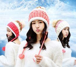 Wholesale Women Winter Hat Headgear - Winter Fashion Beanie Tight Knitted Fur Pom Poms Hat Women Cap Winter Beanie Headgear Headdress Head Warmer Top Quality