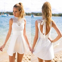 Wholesale Holidays Cocktails - 2017 Summer Little White Short Homecoming Dresses A Line High Neck Keyhole Backless Mini Party Cocktail Gowns Holiday Prom Dresses