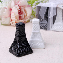 Wholesale Wholesale Eiffel Tower Party Favors - Eiffel Tower Ceramic Salt and Pepper Shakers Wedding Favors Paty Gifts White Black Porcelain Shakers Cooking Tools