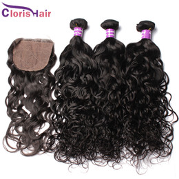 unprocessed human hair natural wavy Coupons - Peruvian Virgin Hair Water Wave Silk Base Closure With Bundles 4pcs Unprocessed Natural Human Hair Weaves Closure Wet And Wavy Extensions