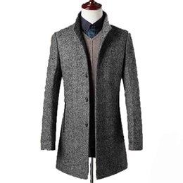 Wholesale 78 Jackets - Wholesale- 78% Woolen Overcoat Men Brand-Clothing High Quality Mens Wool Coat Men Jacket New Mandarin Collar Mens Coats Overcoats WUJ1157