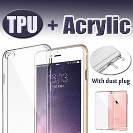 Wholesale Hard Clear Back Bumper - Slim Crystal Case Transparent Clear Hard Back Acrylic + TPU Soft Bumper Dust Plug Dual Layer Protective Cover For iphone 7 Plus 6 6s SE 5S 5