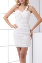 Wholesale White Prom Dress Ruching - 2017 New Modest Prom Dresses Sheath Column One Shoulder Sleeveless Natural Zipper Short Mini Chiffon Ruching Evening Dresses