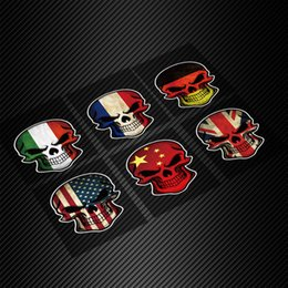Wholesale 3d Car Stickers Flags - 1PCS Car Styling 3D Funny Skull Head Fuel Tank Cap Sticker Italy Flag Rear Window Trunk Decal Stickers Universal for VW Golf