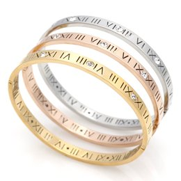 Wholesale Roman Gold Bracelet - Delicate Smart Hollow Roman Numerals Bracelet Stainless steel Bangle For Women Gift Fine Jewelry Pulseiras Top Quality