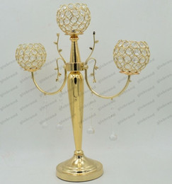Wholesale Candelabrum Wedding Gifts - Three head crystal candlestick gold plated metal stand candelabra candle holders for home wedding decoration gift crafts GLO1212