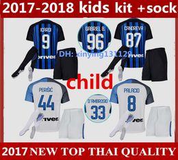 Wholesale Socking Kids - kids 2017 2018 Inter home kits Soccer jersey 17 18 CANDREVA ICARDI JOVETIC Milan full Set + Socks Maillot de foot Away football shirts