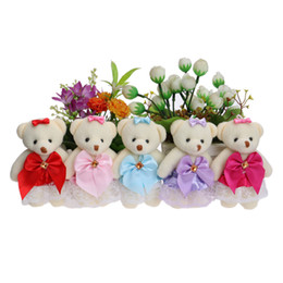Wholesale Red Lace Teddies - Flower Bouquets Material Plush Toys Cute Mini Model Lace Dress Bow Teddy Toy Mixed 5 Colors For Wedding Home Decoration Dolls