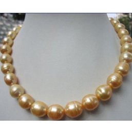 """Wholesale Yellow Gold Necklace Clasp - hot 12-14mm south sea baroque yellow pearl necklace 18"""" 14k Gold Clasp"""