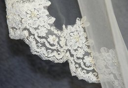 Wholesale Cathedral Veil Without Comb - Real Pictures Chathedral Length Lace Edge Wedding Veil Pearls One Layer White Ivory Bridal Veils Without comb Tulle 022p