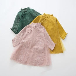 Wholesale Tutu Dresses Wholesale China - Lace China cheong-sam autumn embroidery flowers Girls lace dress Fall hollow out mesh Kids Dress national style Children clothes