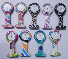 Wholesale Mens Clip Watches - New nurse clip pocket watch fashion flower printing doctor Medical silicone wholesale mens womens ladies quartz Leopard watches Xmas Gifts