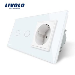 Wholesale Power Outlet Remote Control - Livolo 16A EU standard Wall Power Socket, White Crystal Glass Panel, Touch Switch with Wall Outlet, VL-C702-11 VL-C7C1EU-11