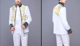 Wholesale Grey Silk Tuxedo - mens embroidery golden stand collar glitter grey sleeve white tuxedo jacket stage performance, only jacket pls see size chart