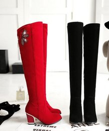 Wholesale Girls Boots Leather Sexy - Wholesale New Arrival Hot Sale Specials Super Fashion Influx Sweet Girl Sexy Large Size Diamond Bow Flower Zip Heels Knee Boots EU34-43