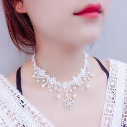 Wholesale Pearl Choker Necklace Gothic - Sexy White Lace Choker Necklace For Women Elegant Hollow Flower Gothic Colar Necklace Bridal Jewelry For Women Wedding Party