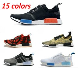 Wholesale Cheap Mens Casual Shoes Sale - 2017 Discount Cheap NMD R1 Primeknit Sales White Red Blue NMD Ultra Boost Women Mens Shoes Casual With Original Box