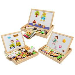 Wholesale Wooden Magnetic Drawing Board - New Arrival Drawing Writing Board Magnetic Board Puzzle Double Easel Kid Wooden Toy Gift Children Intelligence Development Toy