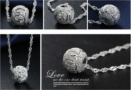 2019 configuración de la joyería de oro 14k Colgante de mujer 925 bola de plata esterlina Moda Collares de cadena de plata Joyas Colgante encantador Joyas de plata esterlina
