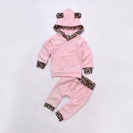 Wholesale Baby Leopard Pink Outfit - Baby Girls Leopard Print Clothing Set Hoodies Pants Kids Outfit Toddler Tracksuit Newborn Cotton Long Sleeve Children Costume Clothes