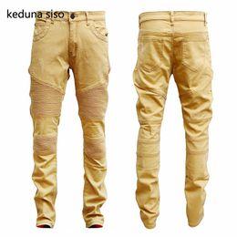 Wholesale Hip Hop Jeans Brands - Wholesale- 2017 Hip Hop Hole Brand Jeans Mens Soft Khaki Denim Distressed Masculina Men's Slim Long Pants Rock Ripped Biker Jeans Homme