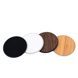 Wholesale Uk Bamboo - NW180 Wood Wireless Chargers For All Android Device - Black White iPhone Sumsung Qi Fast Walnut Bamboo PC Round Shape Cell Phone Pad