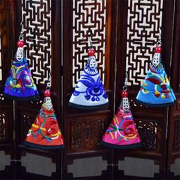 Wholesale Embroidery Earrings - Selling ethnic customs fan earrings ms miao embroidery flower eardrop restore ancient ways recreational craft ornaments