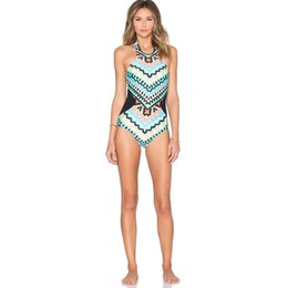 Wholesale Sexy Swimming Suit One Piece - 2017 Hot Summer Women's Sexy One-piece Swimming Suit Geometry Blue Swimwear Strap Swimsuit Lady's Bathing Suit