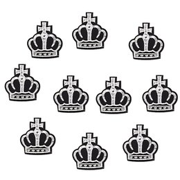 Wholesale Crown Appliques - 10PCS crown badge embroidered patches for clothing iron-on patch sewing supplies accessories stickers on clothes applique iron on patches