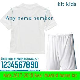 Wholesale Seasons Soccer Jersey - Shirt shorts Child kit Real Madrid kids 2017 2018 season Ronaldo Soccer jersey MODRIC BALE KROOS ISCO BENZEMA football shirts MARCELO jersey