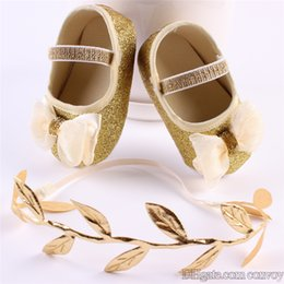Wholesale Infant Fabrics - New Cute Baby Shoes with Headband set Kids Infant Shiny walker shoes baby Toddler Bow BOOTIES Princess Shoes Leaf Headdrsess KXZ01