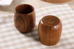 Wholesale vintage wood spoon - Wholesale- 3pc lot Primitive Handmade Wood Coffee Milk Cup Natural Spruce Vintage Cup Breakfast Wooden Mugs Eco-friendly Japanese Tableware