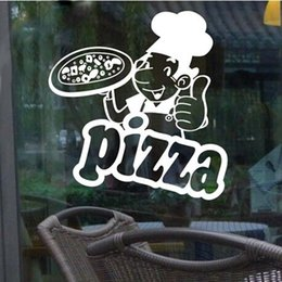 Wholesale Sticker Cooking - 2017 Kitchen Cooking Chef Wall Sticker Restaurant Hotel Pizza Shop Windows Glass Decor Home Cabinet Tile Carved Wall Stickers