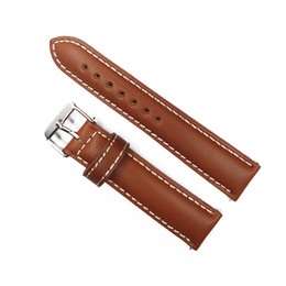 Wholesale Italy Oil - Wholesale-Watch Strap 20mm Vintage Style Watch Band Light Brown Italy Oil Genuine Leather Watchband Strap For Hour Belt For Watches