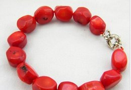 Wholesale Massive Bracelet - Wholesale- shitou 00971 8''13mm massive red baroque Coral Bracelet 2PC
